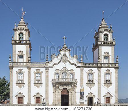 Viseu Beira Portugal: July 20 2016: Misericordia Church main entrance. July 20 2016 in Viseu Portugal.