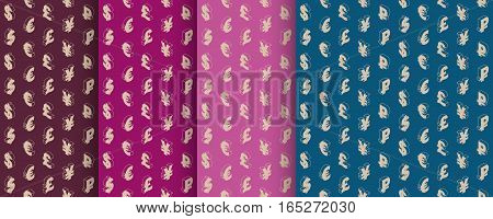 Retro patterns with currency symbols. Vintage design. Seamless background with isometric line icons. Vector illustration.