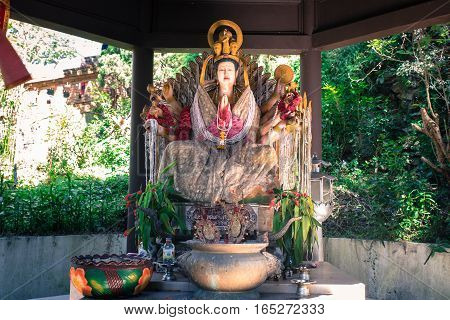 Religion In Thailand. Statue Of Eighteen Arms Guanyin ( Shiva Buddha Cundi Bodhisattva ) at Wat Phra That Doi Suthep temple Chiangmai Thailand