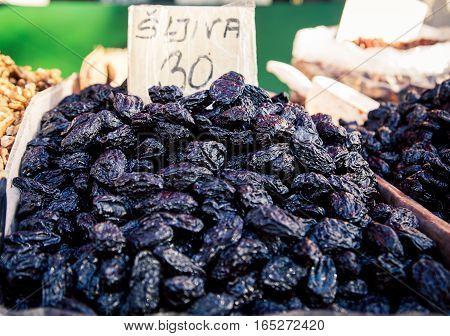Fresh prunes at a market in Split Croatia
