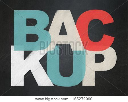 Database concept: Painted multicolor text Backup on School board background, School Board