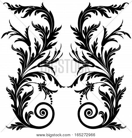 Black vintage ornament, baroque ornament, scroll ornament, engraving border ornament, floral ornament, retro pattern ornament, antique ornament, style acanthus ornament, foliage swirl ornament, decorative ornament, filigree ornament, calligraphy ornament