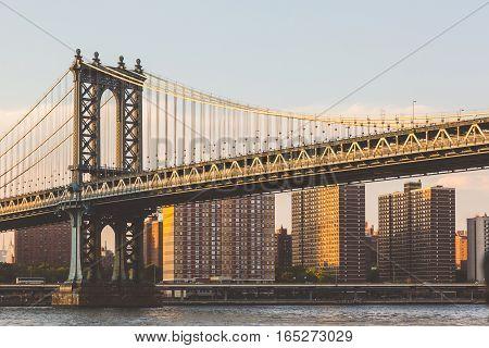Manhattan Bridge In New York At Sunset