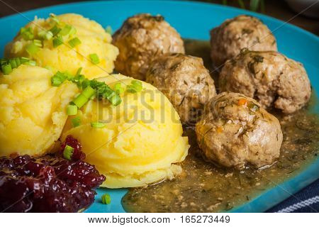 Meatballs With Potatoes In Dill Sauce.