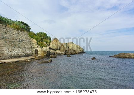 the Fortified wall beach Vorontsov Palace in Alupka. Crimea Russia