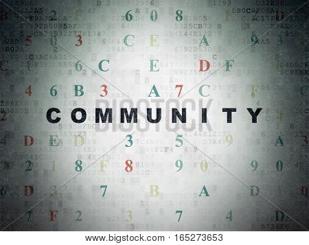 Social network concept: Painted black text Community on Digital Data Paper background with Hexadecimal Code