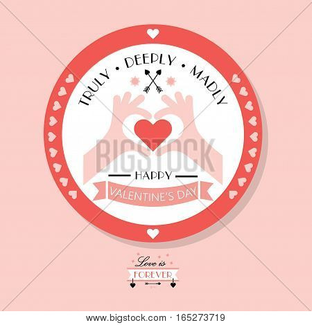 Cute Happy Valentine's day badge emblem on pink background with hands showing heart symbol