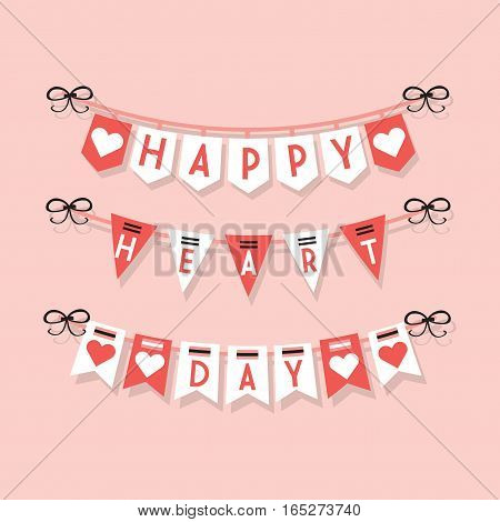 Cute pink Happy Heart Day hanging buntings and festive garlands decoration icons set on light pink background