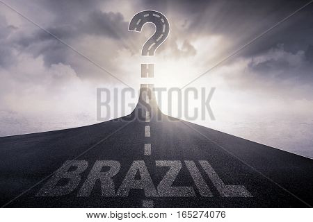 Brazil written on the asphalt road with question mark at the end of a road