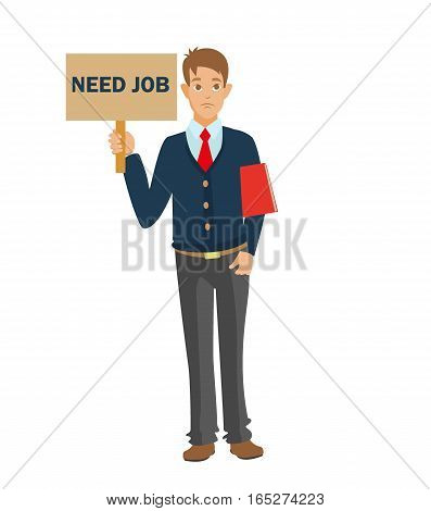 Unemployed man with red CV need job.