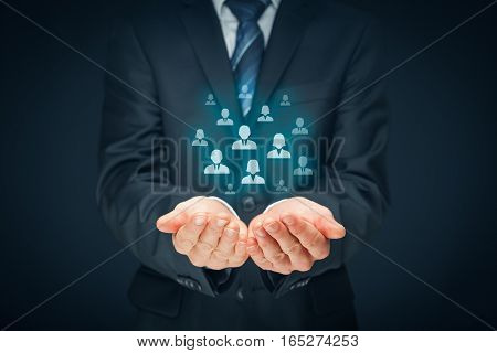 Customer care, care for employees, human resources, employment agency and marketing segmentation concepts. Leader manage his team. Central composition. poster