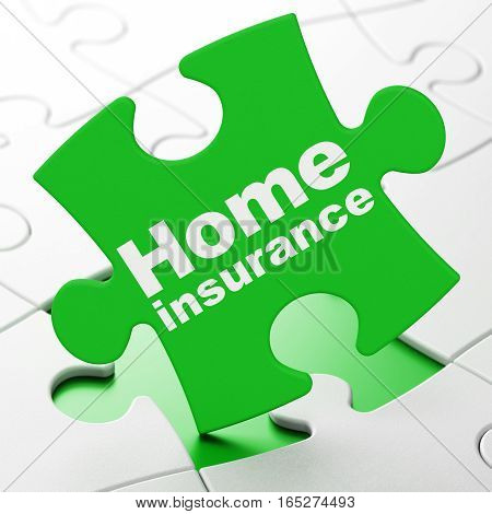 Insurance concept: Home Insurance on Green puzzle pieces background, 3D rendering
