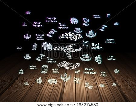 Insurance concept: Glowing Airplane And Palm icon in grunge dark room with Wooden Floor, black background with  Hand Drawn Insurance Icons