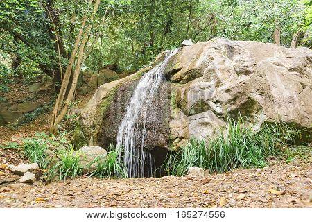 Landscape design. Artificial waterfall in the Park. Alupka Crimea Russia