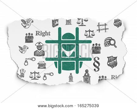 Law concept: Painted green Criminal icon on Torn Paper background with  Hand Drawn Law Icons