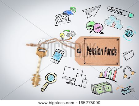 Pension Funds Concept. Key and a note on a white background.