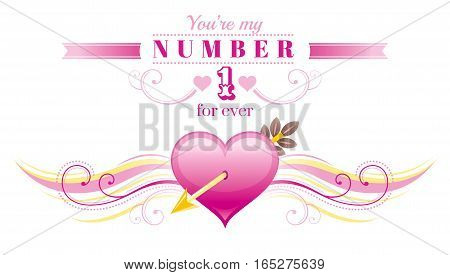 Happy Valentines day border, Cupid arrow pink heart. Romance, love text letters, isolated frame white background. Cute romantic Valentine banner vector illustration. Abstract design. Flat cartoon