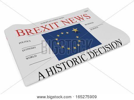 EU Politics News Concept: Newspaper Front Page Brexit 3d illustration on white background
