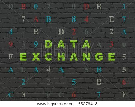 Data concept: Painted green text Data Exchange on Black Brick wall background with Hexadecimal Code