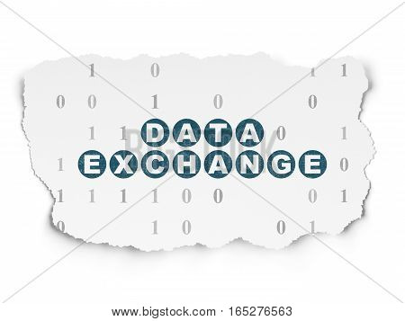 Data concept: Painted blue text Data Exchange on Torn Paper background with  Binary Code