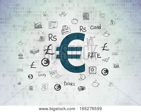 Currency concept: Painted blue Euro icon on Digital Data Paper background with  Hand Drawn Finance Icons