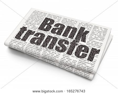 Banking concept: Pixelated black text Bank Transfer on Newspaper background, 3D rendering