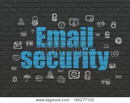 Privacy concept: Painted blue text Email Security on Black Brick wall background with  Hand Drawn Security Icons