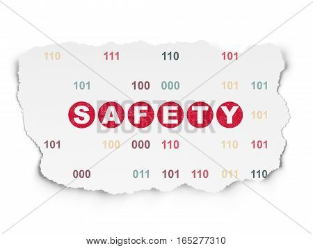 Protection concept: Painted red text Safety on Torn Paper background with  Binary Code