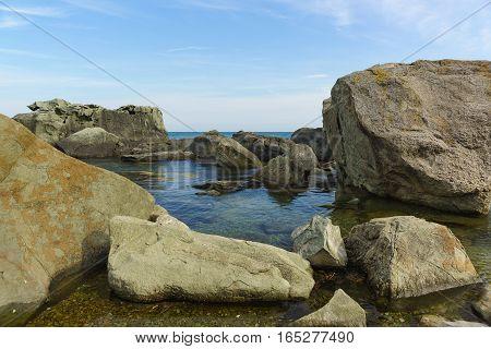 Rocky Creek on the shore of the Black sea. Crimea Russia