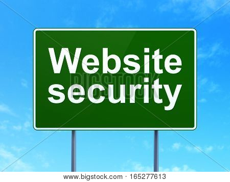 Protection concept: Website Security on green road highway sign, clear blue sky background, 3D rendering