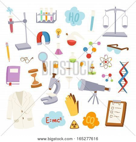 Science lab icons education design. Flat design pharmacy study concept vector illustration. Molecule scientist structure experiment technology.