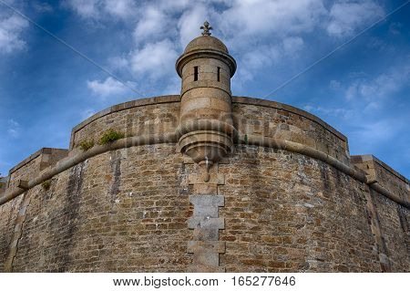 Stone loophole at the corner of Saint-Malo fortification, bretagne France