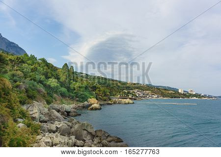 Scenic shore of the Black sea in the South of the Park Vorontsov Palace. Alupka Crimea Russia