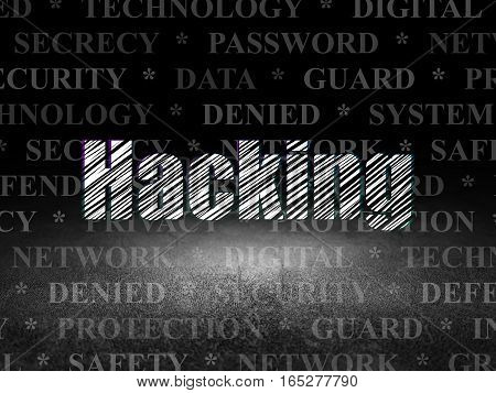 Safety concept: Glowing text Hacking in grunge dark room with Dirty Floor, black background with  Tag Cloud