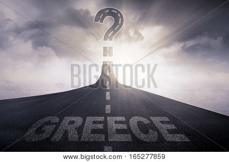 Empty road with word of Greece and question mark at the end of a road