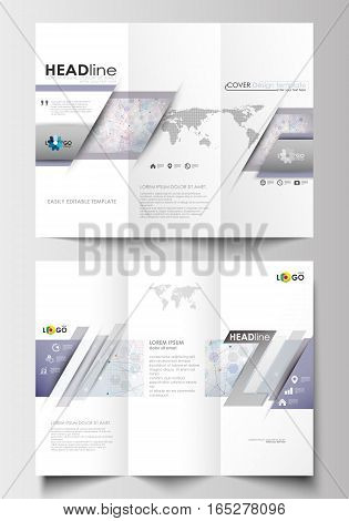 Tri-fold brochure business templates on both sides. Easy editable abstract layout in flat design. Molecule structure on blue background. Science healthcare background, medical vector.
