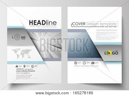 Business templates for brochure, magazine, flyer, booklet or annual report. Cover design template, easy editable blank, abstract flat layout in A4 size. Abstract blue or gray business pattern with lines, modern stylish vector texture.