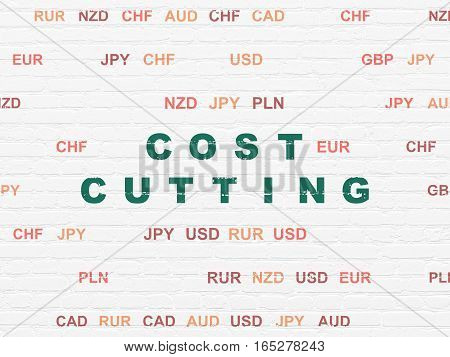 Business concept: Painted green text Cost Cutting on White Brick wall background with Currency