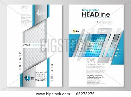 Blog graphic business templates. Page website design template, easy editable, abstract flat layout. Abstract triangles, blue and gray triangular background, modern polygonal vector.