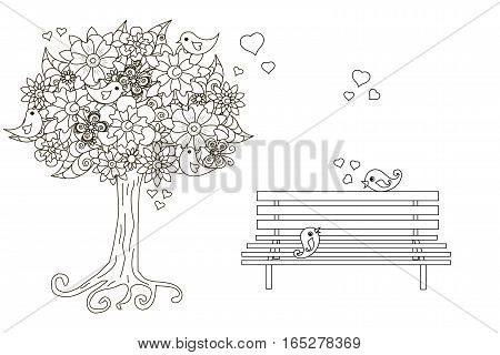 Anti stress blooming tree, birds with hearts, on bench hand drawn vector illustration
