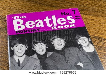 LONDON UK - JANUARY 13TH 2017: Close-up shot of issue number 7 of The Beatles Monthly Book issued in February 1964 placed on a tabletop pictured on 13th January 2017.