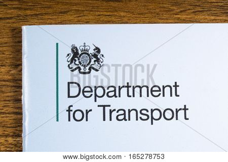LONDON UK - JANUARY 13TH 2017:The logo for the Department for Transport on the corner of a booklet on 13th January 2017.
