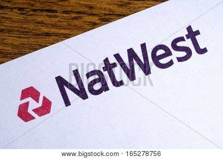 LONDON UK - JANUARY 13TH 2017: The logo for Natwest Bank on the top of a letter on 13th January 2017.