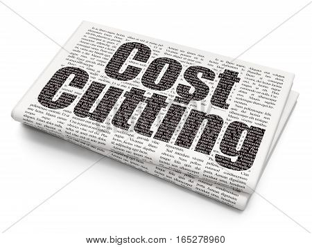 Business concept: Pixelated black text Cost Cutting on Newspaper background, 3D rendering