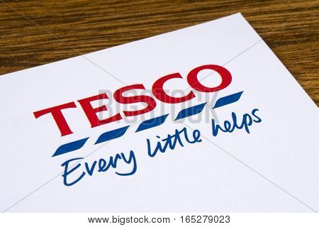 LONDON UK - JANUARY 13TH 2017: A close-up of the Tesco logo and slogan on a promotional leaflet on 13th January 2017.