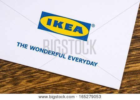 LONDON UK - JANUARY 13TH 2017: A close-up of the Ikea company logo with the company slogan The Wonderful Everyday printed on one of their promotional leaflets on 13th January 2017.