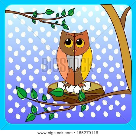 Cute owl on a tree branch in the style of animation on a merry night background with an ornament in the form of eggs. Beautiful illustration of blue framed.