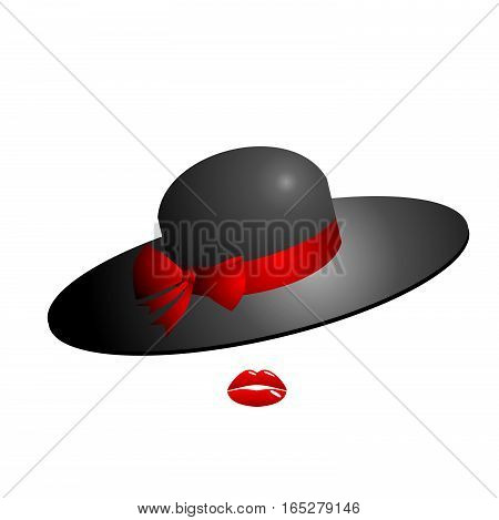 Feminine elegant classical glamorous women in black hat with a red bow. Visible only her lips bright red. Illustration on white background