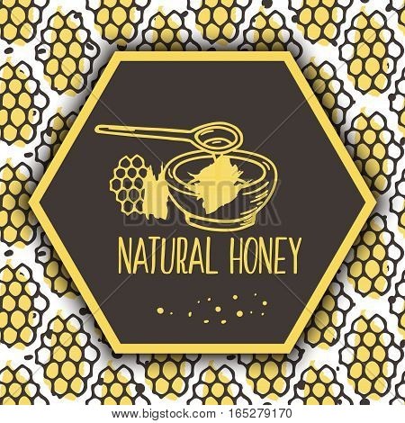 Vector natural honey background. Bio hand drawn design. Comb in sketchy style.