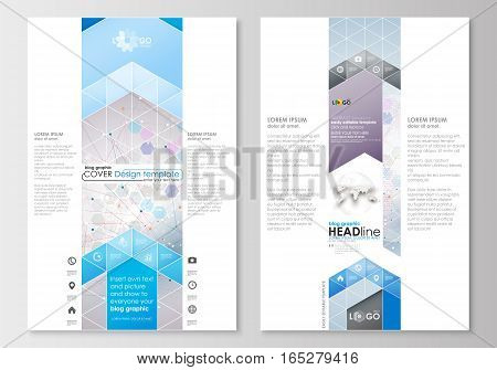 Blog graphic business templates. Page website design template, easy editable, abstract flat layout. Molecule structure on blue background. Science healthcare background, medical vector.